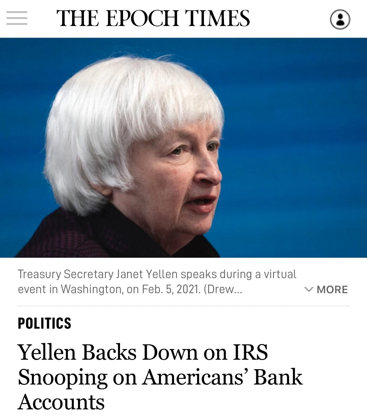 State Treasury Secretary Yellen Backs Down on IRS Snooping on Americans' Bank Accounts